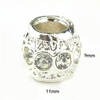 Led med stene sølv - 11 / 5 mm