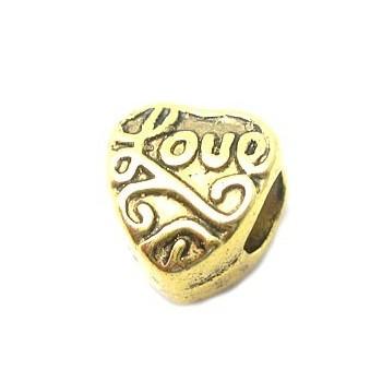 """Hjerte led med mønster og skrften """"love"""" guld"""
