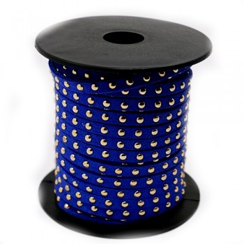 Blå ruskind med nitter i guld - 50 cm