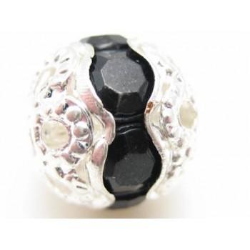 Rund sølv rhinstensperle med sorte stene 10mm