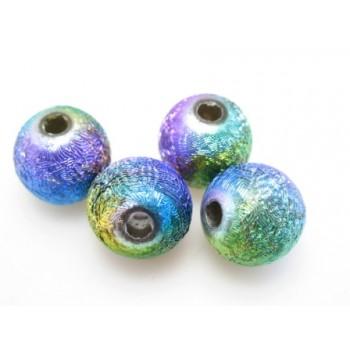Silkebørstet regnbue perle 6 mm - 10 stk