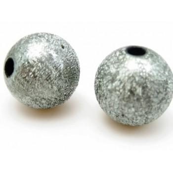 Silkebørstet sølv grå 12 mm perle