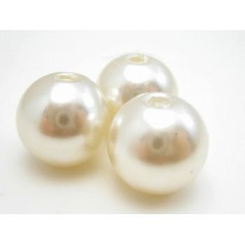 Voks perle 10 mmm hvid - 10 stk