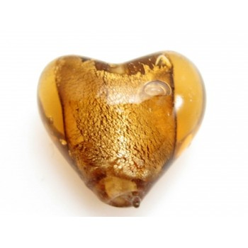 Glas hjerter folierede brun 12/2 mm - 2 stk