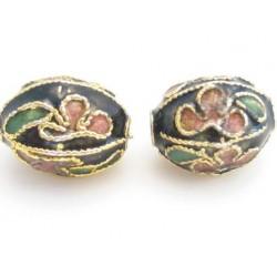 Cloisonne ovale perler 11 mm sorte - 2 stk