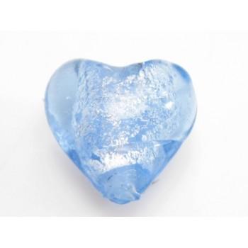 Glas hjerter folierede lys blå 12/2 mm - 2 stk
