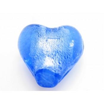 Glas hjerter folierede mellem  blå 12/2 mm - 2 stk