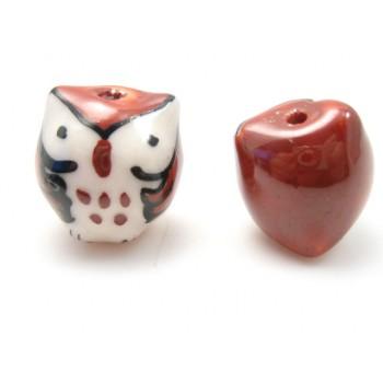 Porcelæns ugle 15 mm Brun