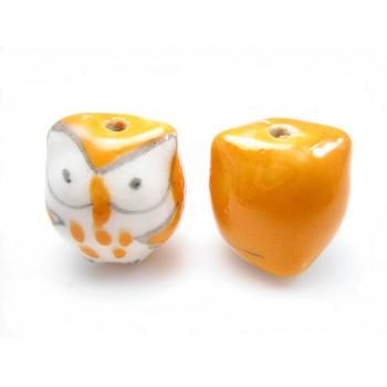 Porcelæns ugle 15 mm Orange