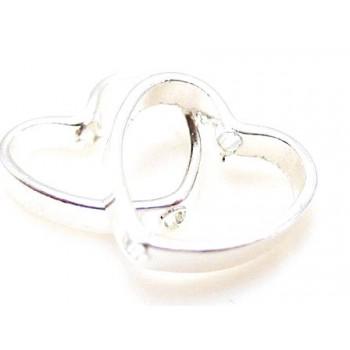 Hjerte ring 9 mm sølv - 4 stk