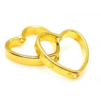 Hjerte ring 9 mm guld - 4 stk