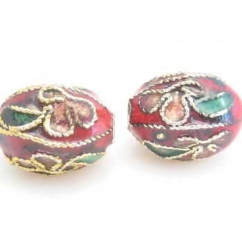 Cloisonne ovale perler 11 mm røde - 2 sk