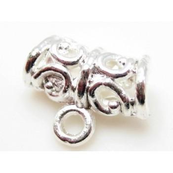 Vedhængsperle buet sølv plate 11 mm / 3 mm hul.