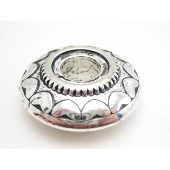 Stor flot sølv perle med hjerte mønster 25 mm