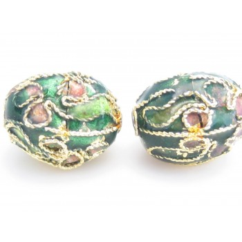 Cloisonne ovale perler 11 mm grønne - 2 stk