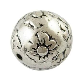 Flot sølv perle med blomster 16 mm / 1,8 mm