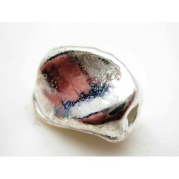 Twistet sølv perle 9 / 2 mm - 2 stk