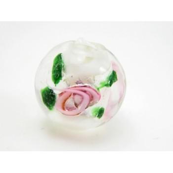 Perle med rose 12 mm / 1,5 mm - 4 stk