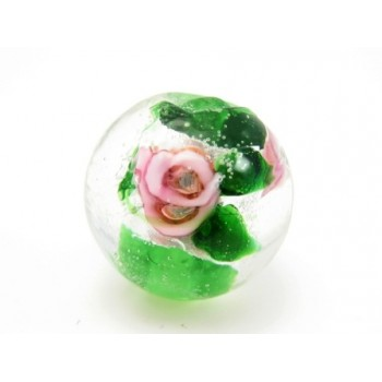 Perle med rose 12  / 1,5 mm - 4 stk