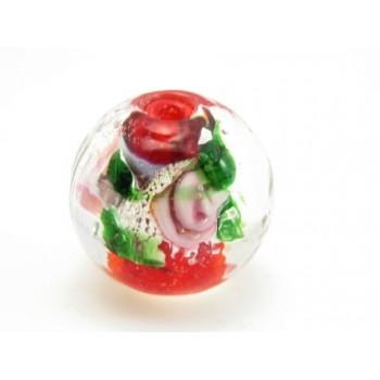 Rød glas perle med rose 12 mm / 1,5 mm