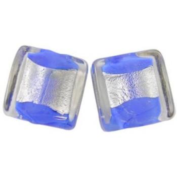 Firkantet let flad blå med sølv midte 12 / 2 mm