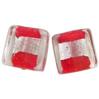 Firkantet let flad rød med sølv midte 12 / 2 mm