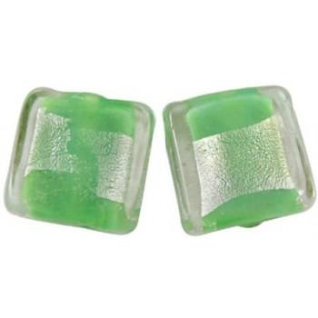 Firkantet let flad  grøn  med sølv midte 12 / 2 mm