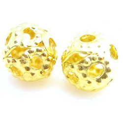 Guld filigran perler 4 mm - 20 stk