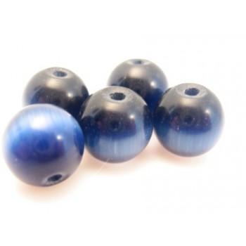 Cat eye perle 8mm konge blå  - 10 stk