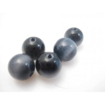 Cat eye perle 8mm mørk grå - sort  - 10 stk