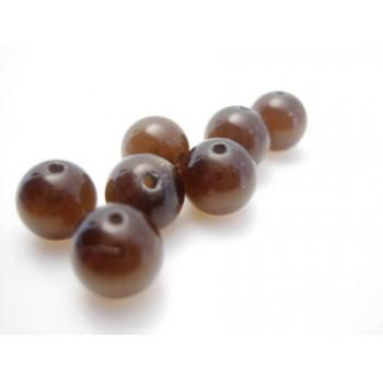 Cat eye perle 8mm mørk brun  - 10 stk