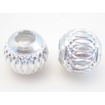 Sølv perle med skåret mønster 11 / 4 mm - 3 stk