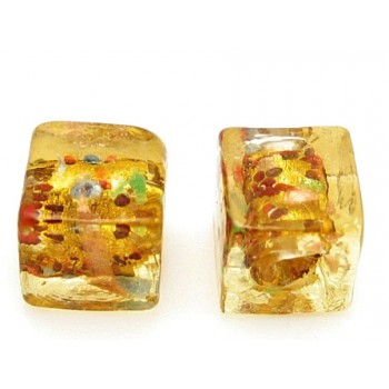 Håndlavet firkantet glas perle brun  8 / 1,5 mm - 4 stk