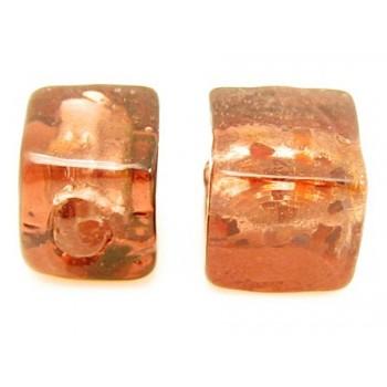 Håndlavet firkantet glas perle bordeaux  8 / 1,5 mm - 4 stk
