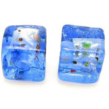 Håndlavet firkantet glas perle Blå  8 / 1,5 mm - 4 stk