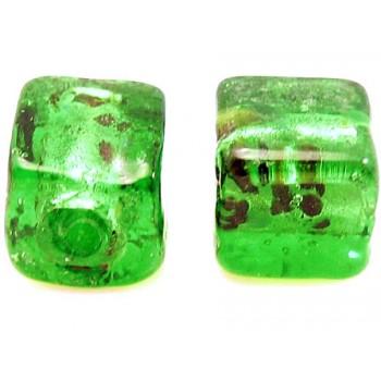 Håndlavet firkantet glas perle mørk grøn  8 / 1,5 mm - 4 stk