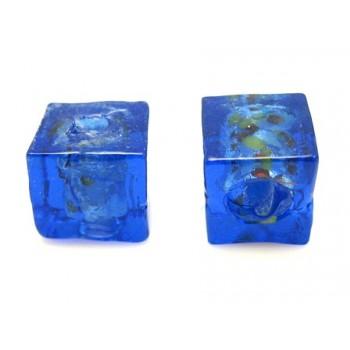 Håndlavet firkantet glas perle Mørk blå  8 / 1,5 mm - 4 stk