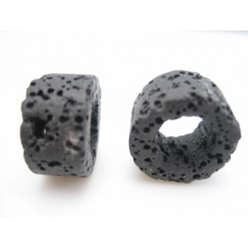 Lava ring sort 15 mm - 2 stk