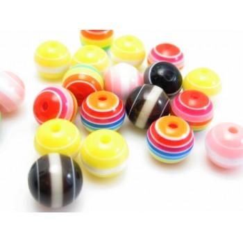 Stribede farvede perler 8 mm - 20 stk