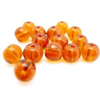 Glas perle 6 mm - brun  - 15 stk
