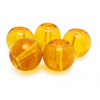 Glas perle 6 mm - lys brun  - 15 stk