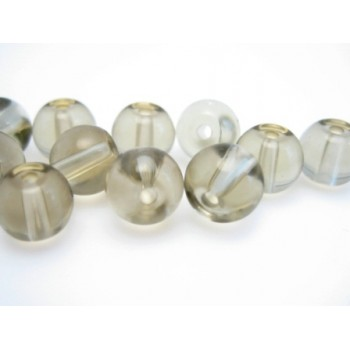 Glas perle 6 mm - røgfarvet - 15 stk