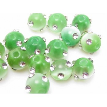 Cat eye perle med stene 8 mm - grøn