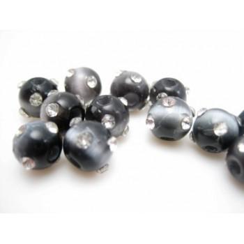 Cat eye perle med stene 8 mm - sort - grå