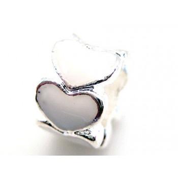 Sølv plate med hvide emalje hjerter