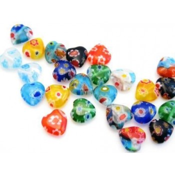 Millefiori glas hjerter 8 mm - 8 stk