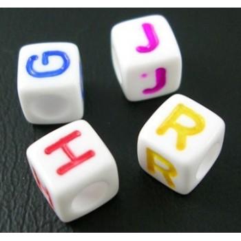 Perler med bogstaver hvide 6 / 3,5 mm - 150 stk