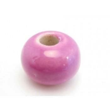 Stor keramik perle lilla 15 / 5 mm