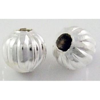 Sølv perle 6 / 2 mm - 8 stk.