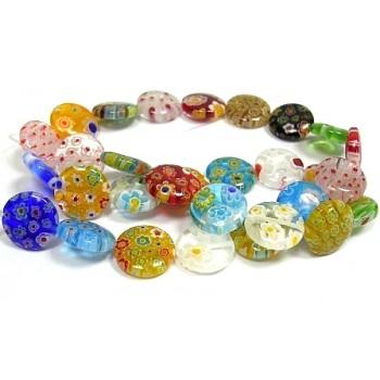 Millefiori glas perler 6 mm - 8 stk